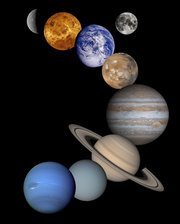 Mosaic of Solar System planets except Pluto, including Earth's Moon (not to scale).